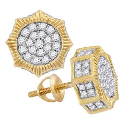 3/4 CTW Mens Round Diamond Starburst 3D Cluster Stud Earrings 10kt Yellow Gold - REF-47M9A