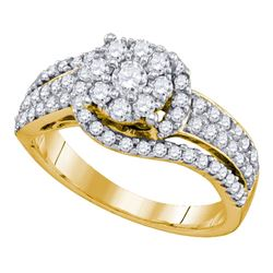 7/8 CTW Round Diamond Flower Cluster Ring 10kt Yellow Gold - REF-60M3A