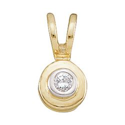 0.03 CTW Round Diamond Solitaire Circle Pendant 10kt Yellow Gold - REF-3Y6X