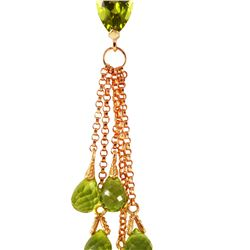 Genuine 7.5 ctw Peridot Necklace 14KT Rose Gold - REF-39R4P