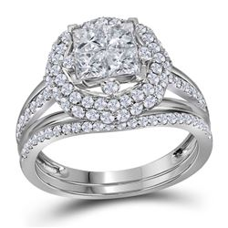 1 & 1/2 CTW Princess Diamond Bridal Wedding Engagement Ring 14kt White Gold - REF-113N9Y