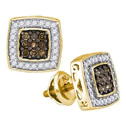 1/2 CTW Round Brown Diamond Square Cluster Earrings 10kt Yellow Gold - REF-24N3Y