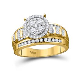 1/2 CTW Round Diamond Cluster Bridal Wedding Engagement Ring 10kt Yellow Gold - REF-33N3Y