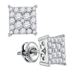1 CTW Round Diamond Square Cluster Stud Earrings 10kt White Gold - REF-47T9K