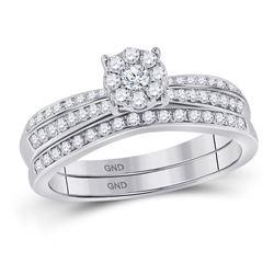 1/2 CTW Round Diamond Bridal Wedding Engagement Ring 10kt White Gold - REF-33X3T