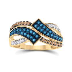 1/2 CTW Round Blue & Brown Diamond Round Ring 10kt Yellow Gold - REF-24F3M