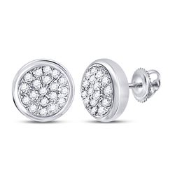 1/10 CTW Round Diamond Concentric Cluster Screwback Earrings 10kt White Gold - REF-9Y3X
