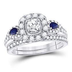 7/8 CTW Round Diamond Bridal Wedding Engagement Ring 14kt White Gold - REF-107W9F