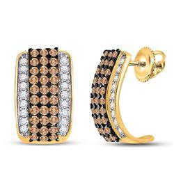1 & 7/8 CTW Round Brown Diamond Hoop Earrings 10kt Yellow Gold - REF-63N5Y