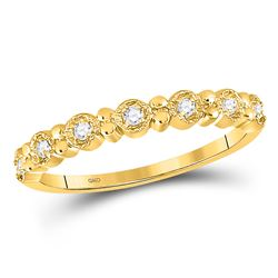 1/10 CTW Round Diamond Stackable Ring 10kt Yellow Gold - REF-10X8T