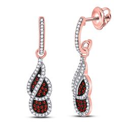 3/8 CTW Round Red Color Enhanced Diamond Cluster Dangle Earrings 10kt Rose Gold - REF-30W3F