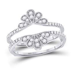 3/8 CTW Round Diamond Wrap Ring 14kt White Gold - REF-35R9H