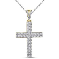 1/3 CTW Mens Round Diamond Cross Charm Pendant 10kt Yellow Gold - REF-30M3A