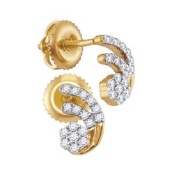 1/5 CTW Round Diamond Cluster Earrings 10kt Yellow Gold - REF-16F8M