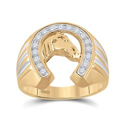 1/4 CTW Mens Round Diamond Horseshoe Ring 10kt Yellow Gold - REF-28T8K