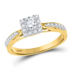 3/8 CTW Round Diamond Square Halo Bridal Wedding Engagement Ring 10kt Yellow Gold - REF-35W9F