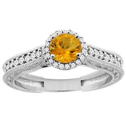 0.99 CTW Citrine & Diamond Ring 14K White Gold - REF-57F2N
