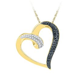 1/6 CTW Round Black Color Enhanced Diamond Heart Pendant 10kt Yellow Gold - REF-14Y4X