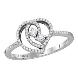 1/5 CTW Round Diamond 2-stone Heart Bridal Wedding Engagement Ring 10kt White Gold - REF-15R5H