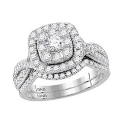 1 CTW Round Diamond Bridal Wedding Engagement Ring 14kt White Gold - REF-99X3T
