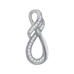 1/10 CTW Round Diamond Twist Fashion Pendant 10kt White Gold - REF-8K4R