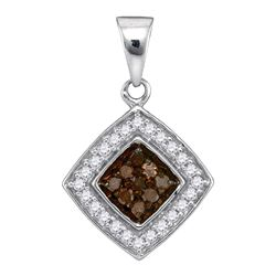 1/4 CTW Round Brown Diamond Square Pendant 10kt White Gold - REF-10F8M