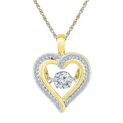 1/4 CTW Round Moving Twinkle Diamond Heart Outline Pendant 10kt Yellow Gold - REF-24M3A