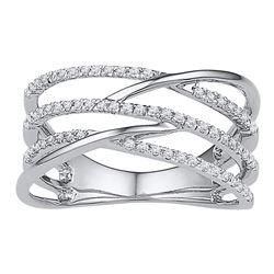 1/3 CTW Round Diamond Triple Row Openwork Crossover Ring 10kt White Gold - REF-25X5T