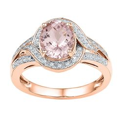 1 & 5/8 CTW Oval Natural Morganite Solitaire Diamond Ring 10kt Rose Gold - REF-57R3H