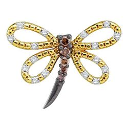 1/4 CTW Brown Diamond Dragonfly Bug Insect Pendant 14kt Yellow Gold - REF-19Y2X