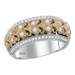 1/2 CTW Round Diamond Filigree Ring 14kt Two-tone White Gold - REF-66F3M