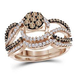 1 CTW Round Brown Diamond Cluster Bridal Wedding Engagement Ring 10kt Rose Gold - REF-54Y3X