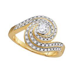 1/2 CTW Round Diamond Solitaire Swirl Bridal Wedding Engagement Ring 10kt Yellow Gold - REF-41T9K