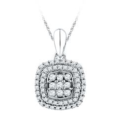 1/3 CTW Round Diamond Cluster Double Frame Square Pendant 10kt White Gold - REF-18W3F