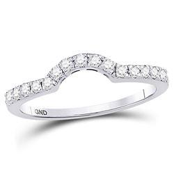 1/4 CTW Round Diamond Curved Wedding Ring 14kt White Gold - REF-26T3K