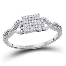 1/5 CTW Round Diamond Square Cluster Ring 10kt White Gold - REF-14T4K