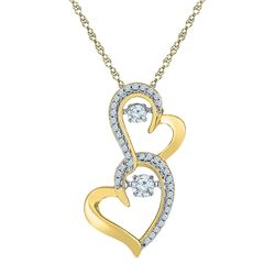 1/4 CTW Round Diamond Moving Twinkle Solitaire Double Heart Pendant 10kt Yellow Gold - REF-26N3Y