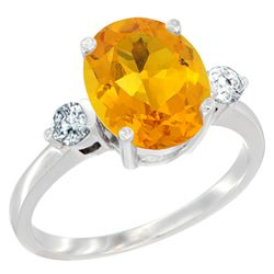 2.60 CTW Citrine & Diamond Ring 14K White Gold - REF-68V6R