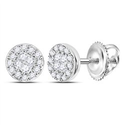 1/6 CTW Princess Round Diamond Cluster Earrings 10kt White Gold - REF-15H3W
