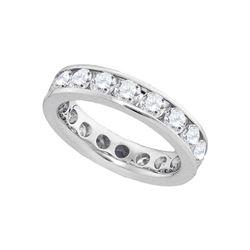 3 CTW Round Channel-set Diamond Eternity Wedding Ring 14kt White Gold - REF-251N9Y