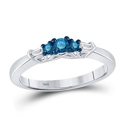 1/4 CTW Round Blue Color Enhanced Diamond 3-stone Bridal Wedding Ring 10kt White Gold - REF-19H2W