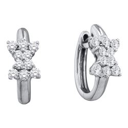 1/2 CTW Round Diamond Cluster Huggie Earrings 14kt White Gold - REF-41M9A