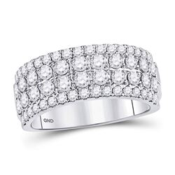 1 & 1/2 CTW Round Diamond Four Row Machine Set Ring 10kt White Gold - REF-105A5N
