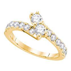 3/4 CTW Round Diamond 2-stone Bridal Wedding Engagement Ring 14kt Yellow Gold - REF-69A3N