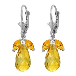 Genuine 14.4 ctw Citrine Earrings 14KT White Gold - REF-46W7Y