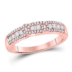 1/2 CTW Round Diamond Triple Row Ring 14kt Rose Gold - REF-47K9R