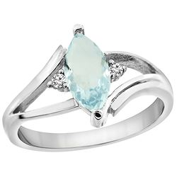 0.94 CTW Aquamarine & Diamond Ring 14K White Gold - REF-35N6Y