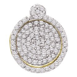 1/3 CTW Round Pave-set Diamond Circle Frame Cluster Pendant 10kt Yellow Gold - REF-18F3M