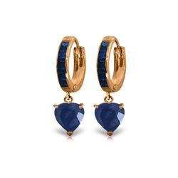 Genuine 3.95 ctw Sapphire Earrings 14KT Rose Gold - REF-68V9W