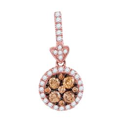 1/2 CTW Round Brown Diamond Circle Frame Cluster Pendant 14kt Rose Gold - REF-38A3N